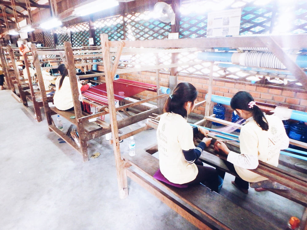 The spoils of silk thread are expertly set up on a loom and   woven intobeautiful silk fabrics.