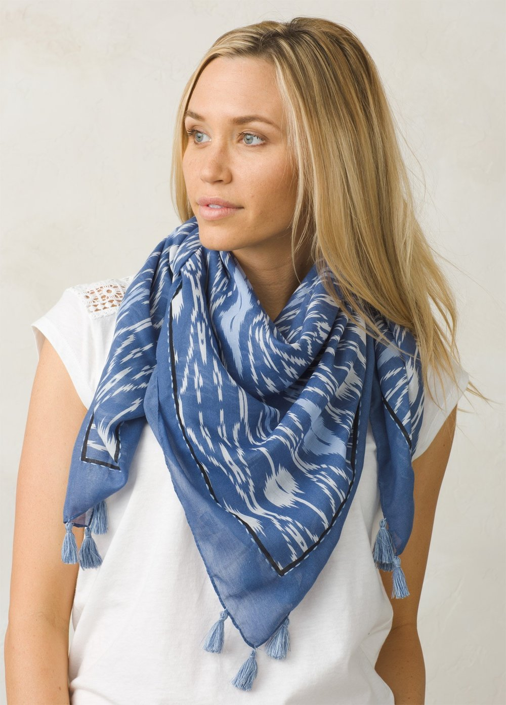 prAna Marilyne Scarf in Sunbleached Blue.