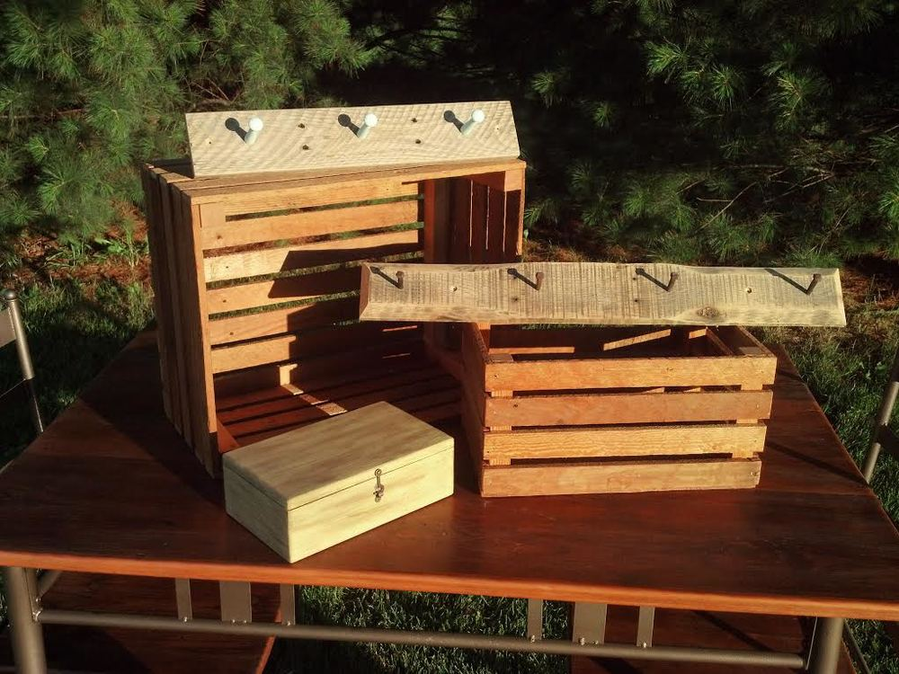 Rustic crafts including coat hangers, crates and boxes $10-$20.jpg