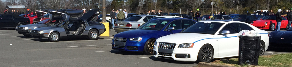 Two DeLoreans and two Audis from Cars and Coffee Charlotte March 2015