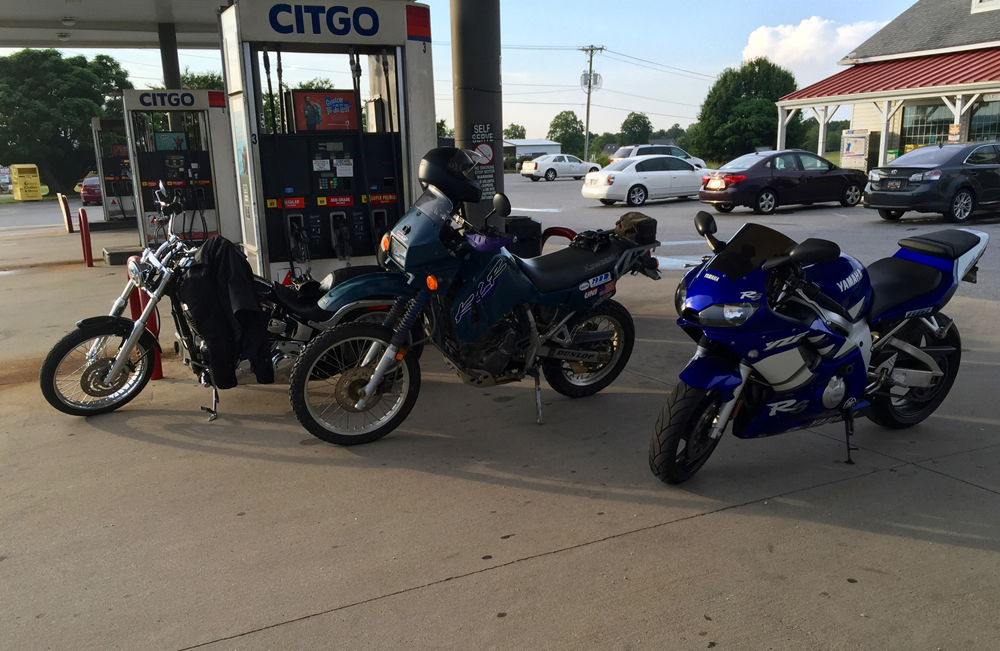 An unlikely combo; Harley Deuce, Kawasaki KLR650, and a Yamaha R6!