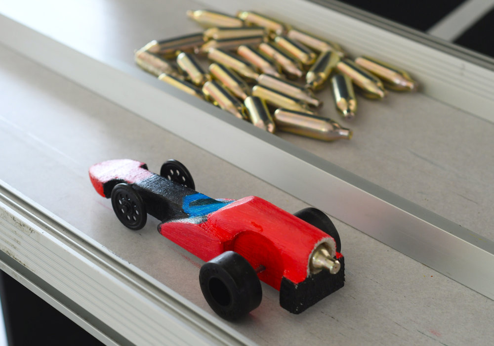 Balsa wood model car, powered by CO2 canisters