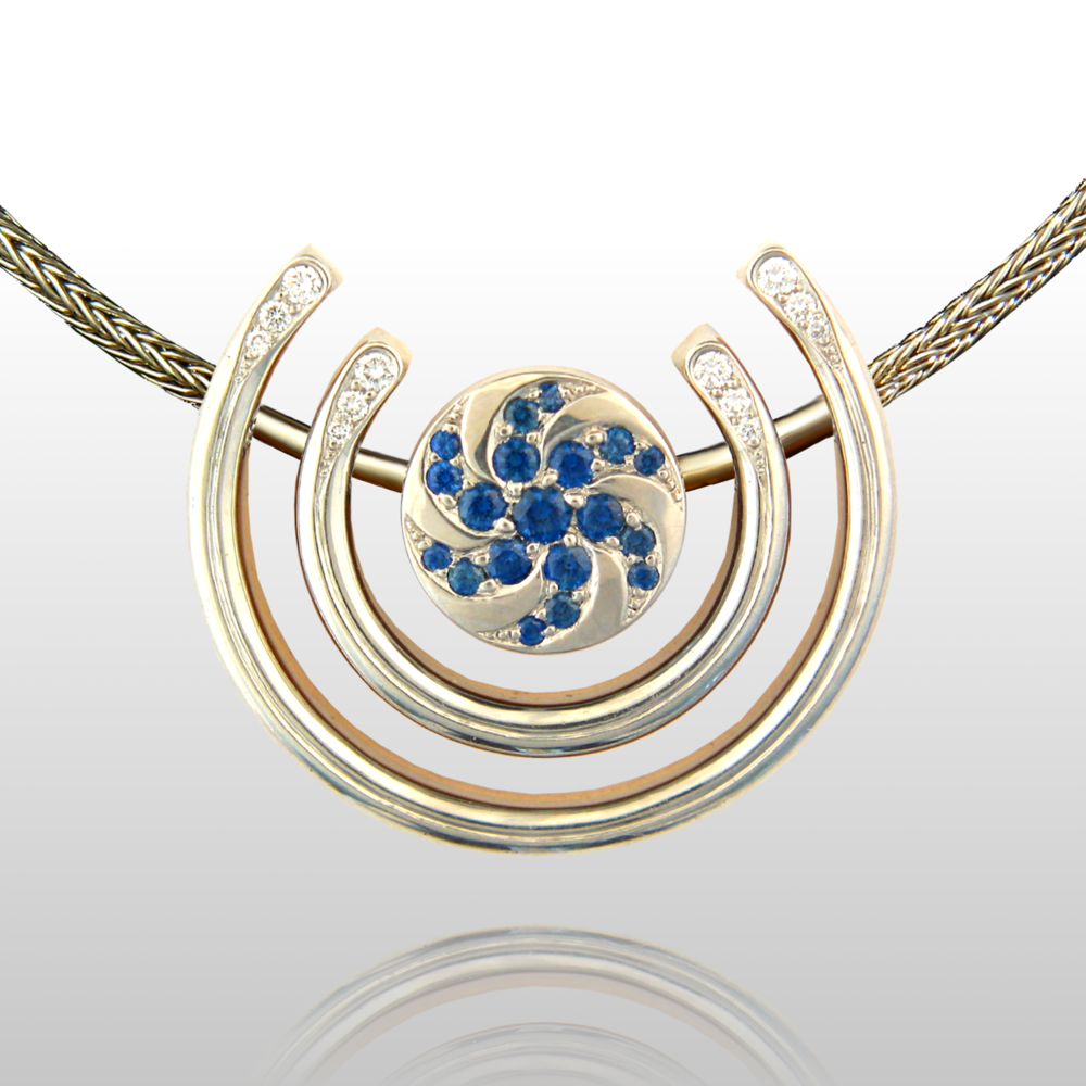 One-of-a-Kind Necklace 'Day and Night' - Platinum, Sapphires, Diamonds by Pratima Design Fine Art Jewelry