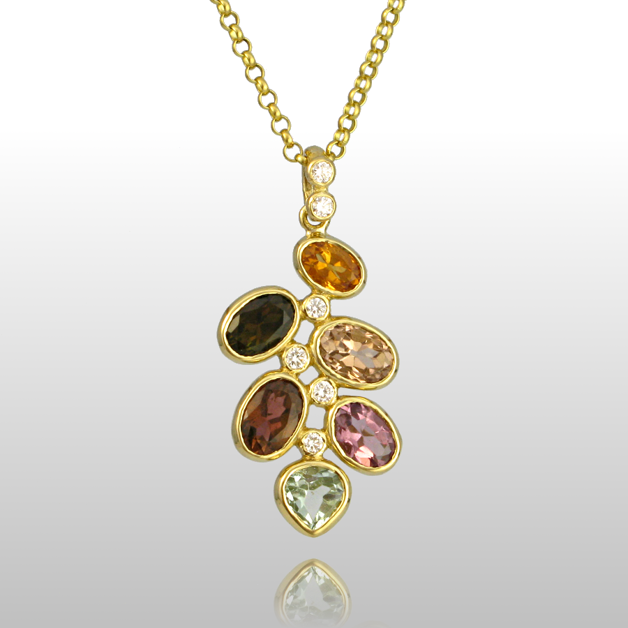 Multi-colored Tourmaline Necklace 'Kaleidoscope' in 18k Gold with Diamonds by Pratima Design Fine Art Jewelry