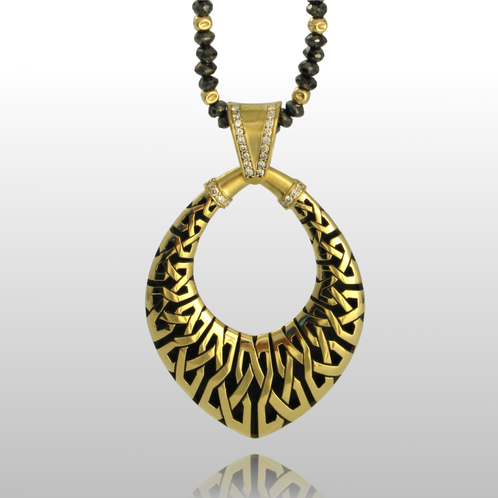 Black Diamond Bead Necklace 'Kapa' in 18k gold by Pratima Design Fine Art Jewelry