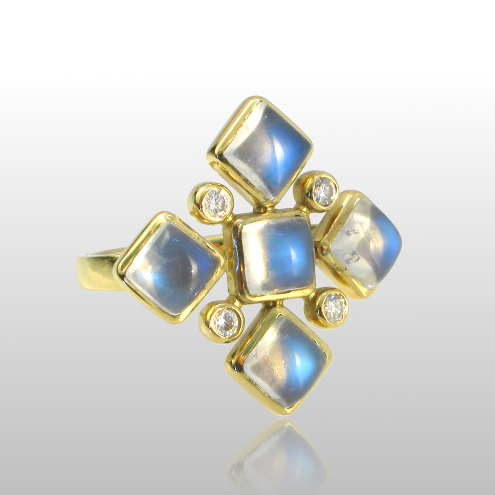 18k gold ring with 5 moonstones and 4 diamonds from the 'Spectrum' collection by Pratima Design Fine Art Jewelry
