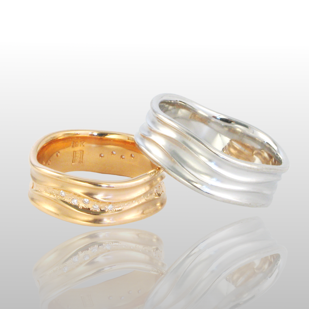 matt products rings brown and modern yellow gold contemporary brushed bespoke a ring cognac wedding with champagne finish diamond