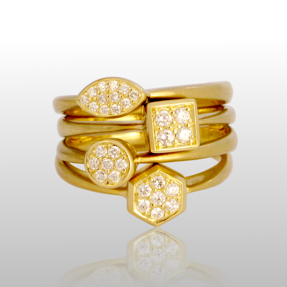 Stackable designer rings in 18k gold 'Stax' with diamond pavé by Pratima Design Fine Art Jewelry