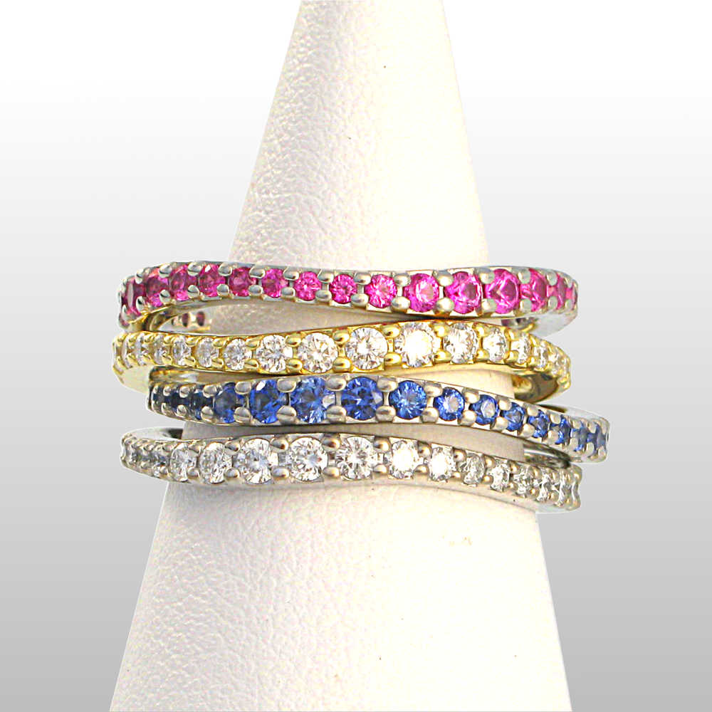 'Lamello' diamond and sapphire pavé eternity wedding bands by Pratima Design Fine Art Jewelry