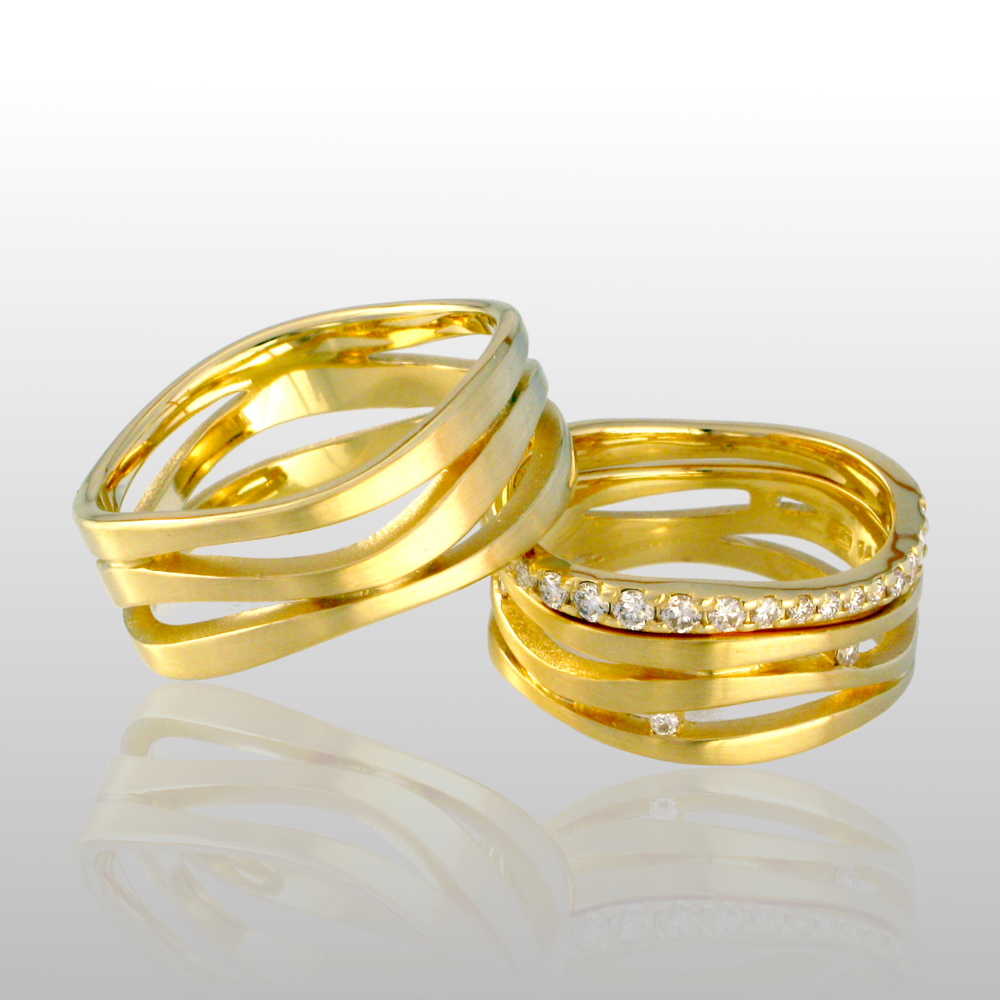 'Lamello' wedding ring set -his and hers- in 18k gold or platinum with diamonds and diamond pavé eternity band by Pratima Design Fine Art Jewelry