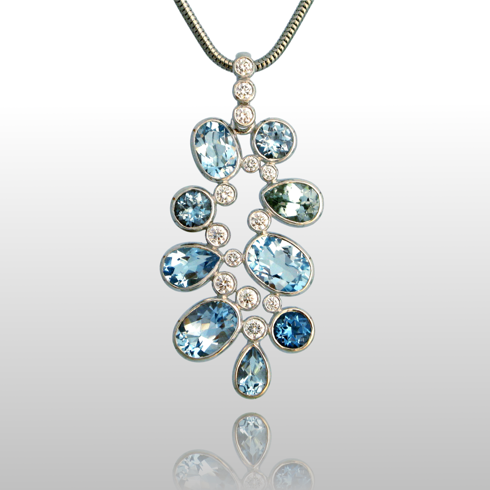 Diamond, Topaz and Zircon Necklace 'Kaleidoscope' in 18k White Gold, one-of-a-kind by Pratima Design Fine Art Jewelry