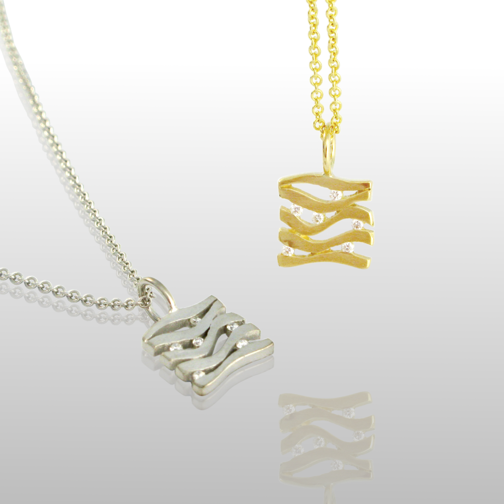 Charm - Mini Wave Pendant 'Lamello' in 18k Gold or Platinum with Diamonds by Pratima Design Fine Art Jewelry