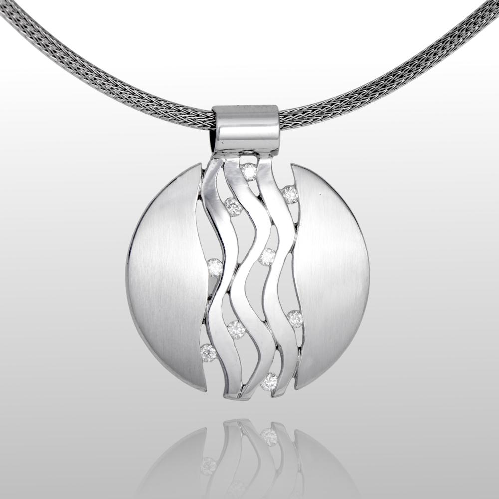 Platinum Wave Pendant 'Lamello' with Diamonds by Pratima Design Fine Art Jewelry