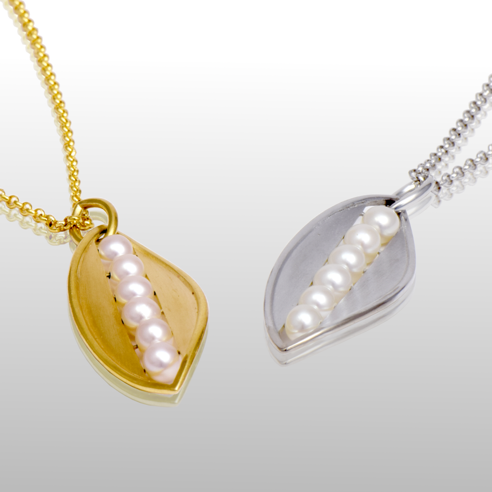 18k Yellow or White Gold 'Maile' Pendants with Freshwater Pearls by Pratima Design Fine Art Jewelry