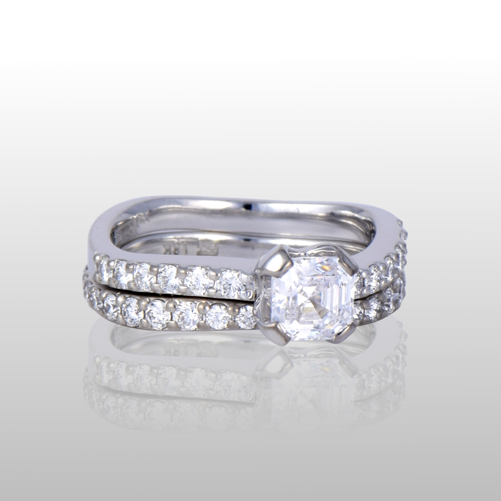 Wedding Ring Set 'Lamello' - Solitaire and Eternity Band - with Asscher cut Diamond available in Platinum and 18k Yellow, White or Rose Gold by Pratima Design Fine Art Jewelry
