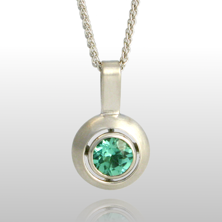 Contemporary Necklace 'Puntos' in 18k White Gold with a 5mm Mint Green Tourmaline by Pratima Design Fine Art Jewelry