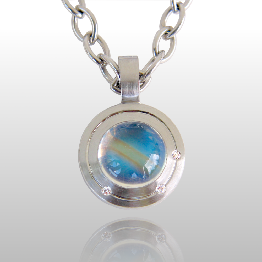 Contemporary Platinum Pendant 'Orbit' with Rainbow Moonstone and Diamonds by Pratima Design Fine Art Jewelry