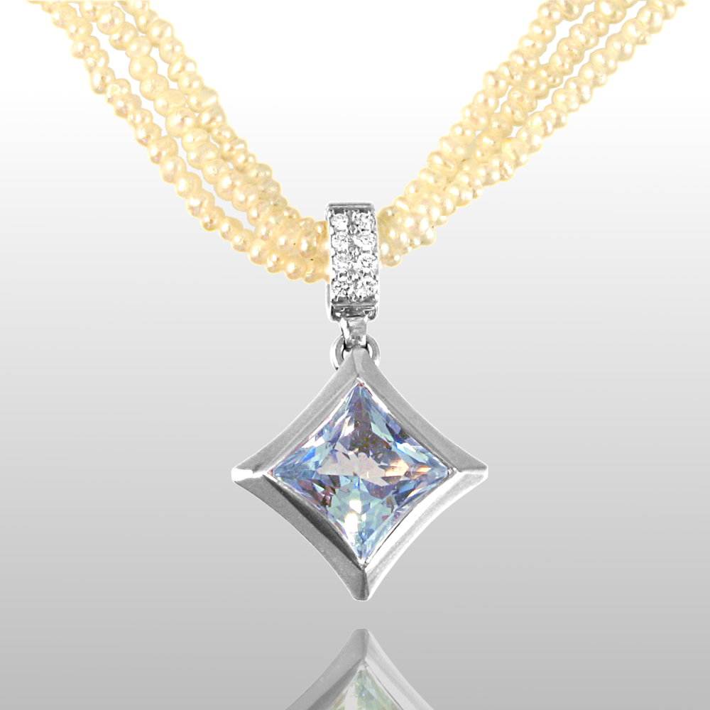 Seed Pearl Necklace with Aquamarine and Diamond Pendant 'Karo' in 18k White Gold from the Spectrum Collection by Pratima Design Fine Art Jewelry