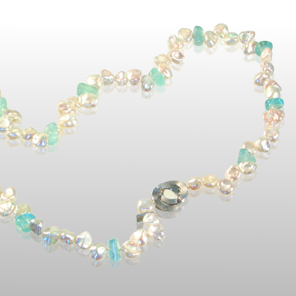 Freshwater Keshi Pearl Necklace with Aquamarine Beads and 18k White Gold Signature Clasp by Pratima Design Fine Art Jewelry