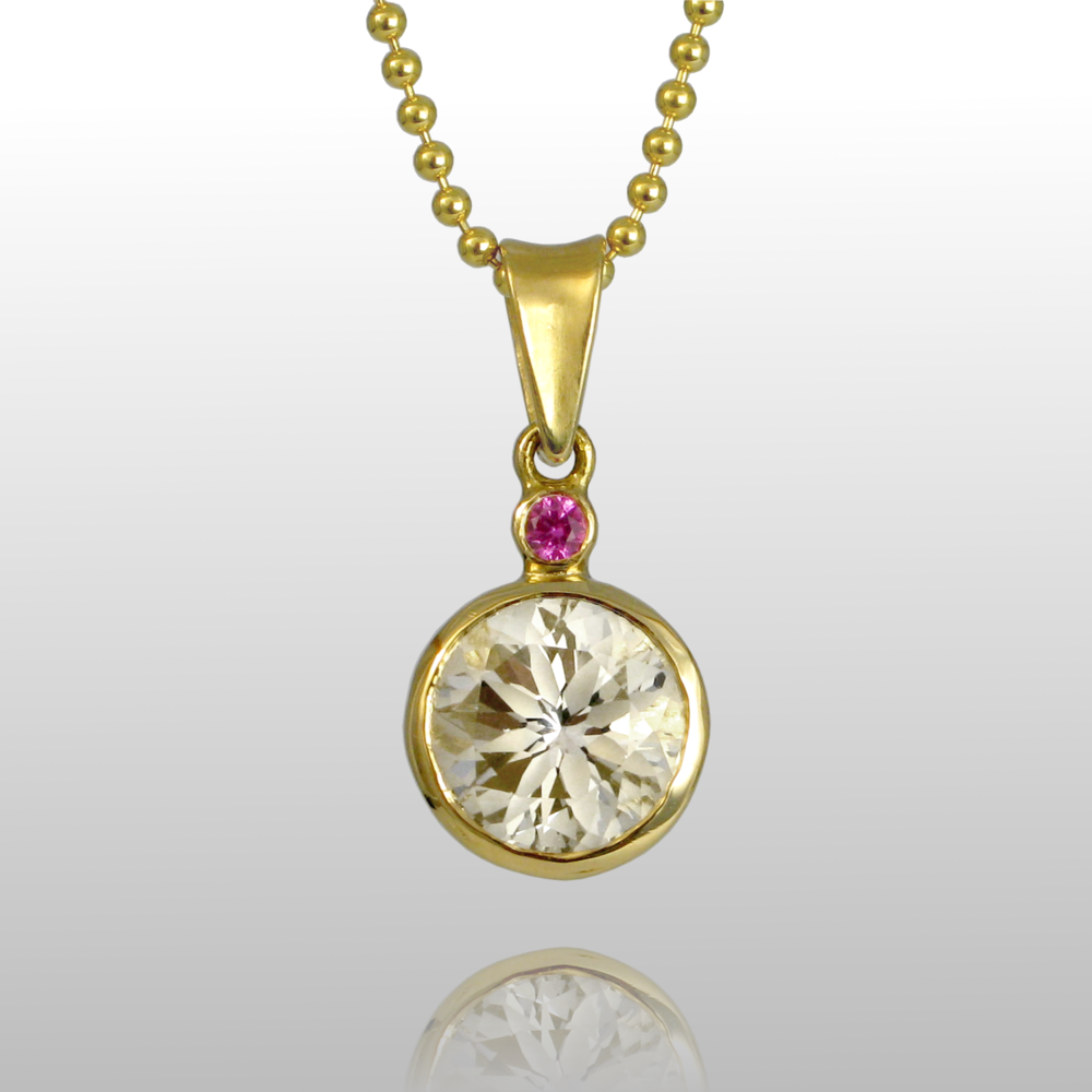 18k Gold Pendant Necklace 'Gem Drops' with White Topaz and Pink Sapphire by Pratima Design Fine Art Jewelry