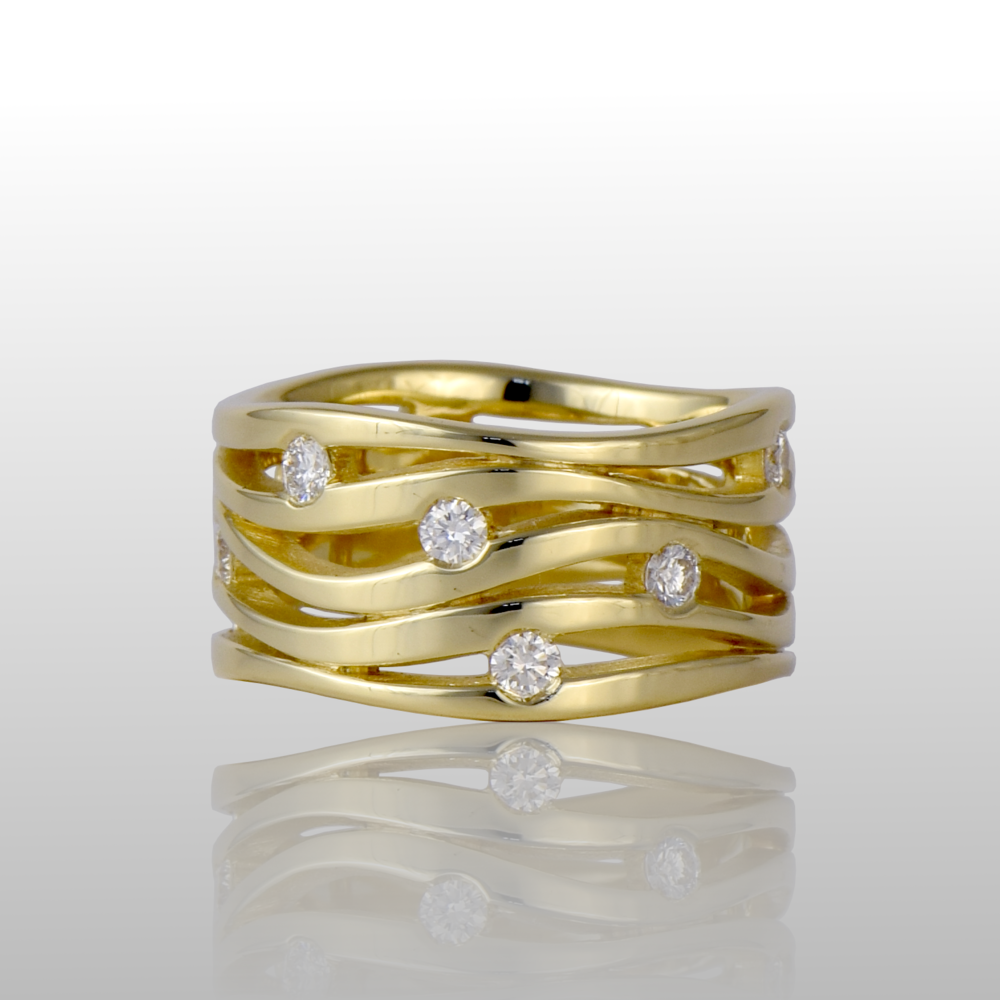 'Lamello' - contemporary wave ring in 18k gold with 12 diamonds .75ct t.w. by Pratima Design Fine Art Jewelry