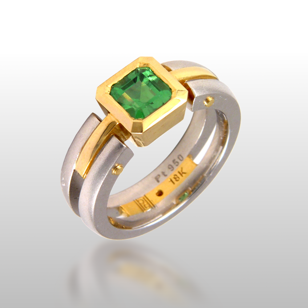 Contemporary platinum and 18k gold ring 'Millennium' with tsavorite by Pratima Design Fine Art Jewelry