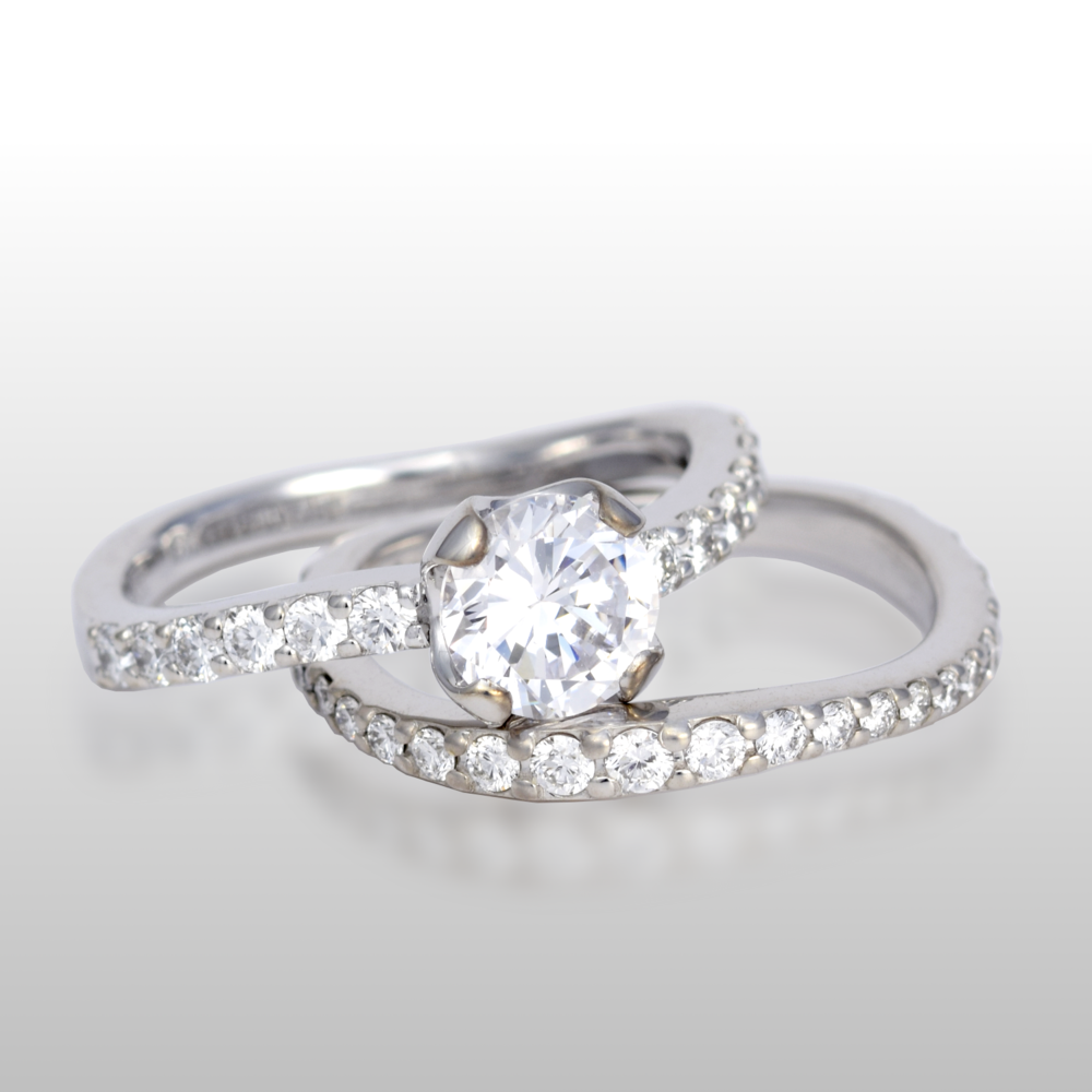 Platinum wedding ring set 'lamello' - solitaire and eternity band - by Pratima Design Fine Art Jewelry