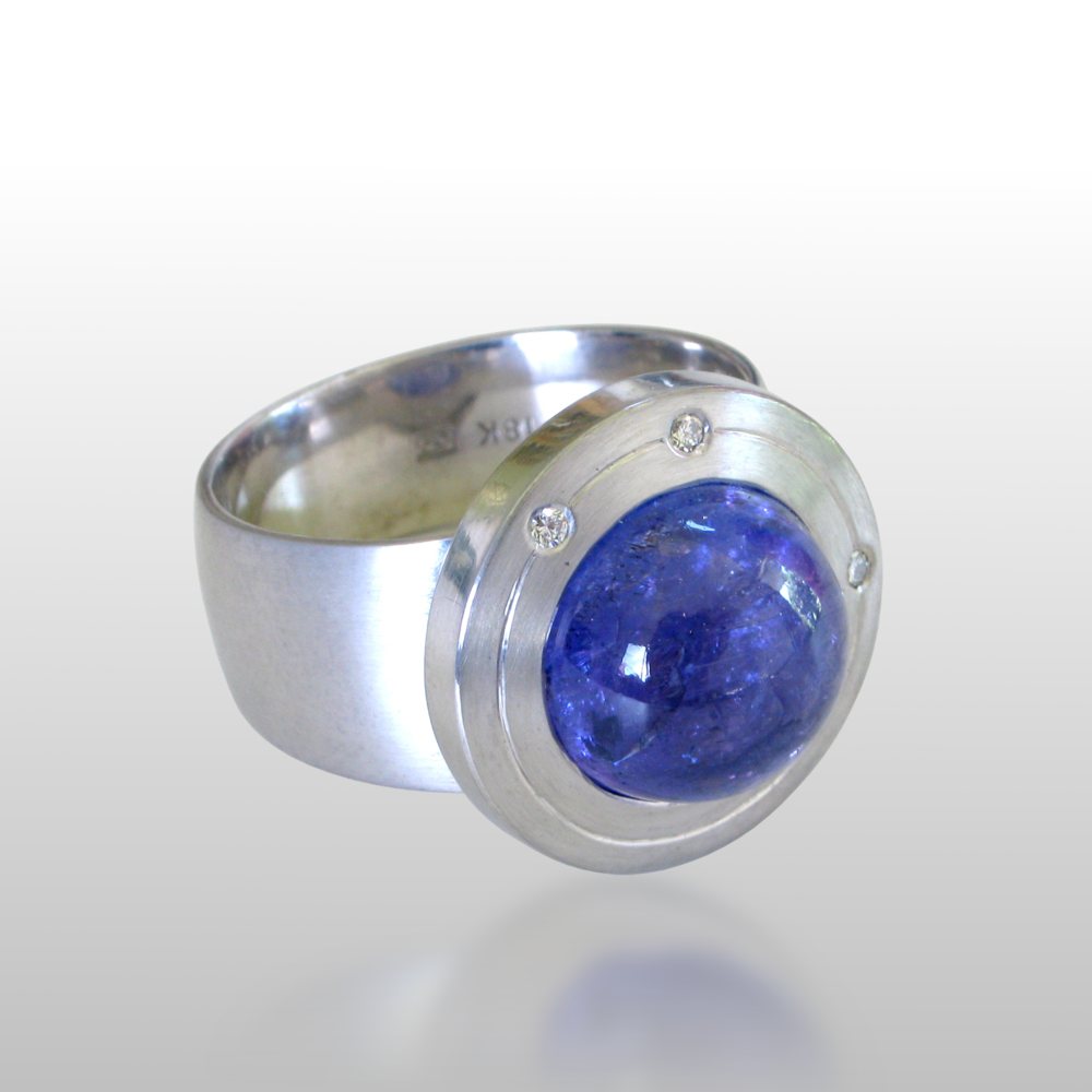"Contemporary 18k white gold ring ""Orbit"" with tanzanite and diamonds by Pratima Design Fine Art Jewelry"