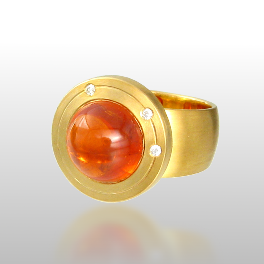 "Contemporary 18k gold ring ""Orbit"" with mandarin garnet and diamonds by Pratima Design Fine Art Jewelry"