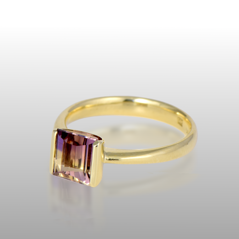 Contemporary Solitaire Ring with Designer Cut Ametrine in 18k Gold by Pratima Design Fine Art Jewelry Maui