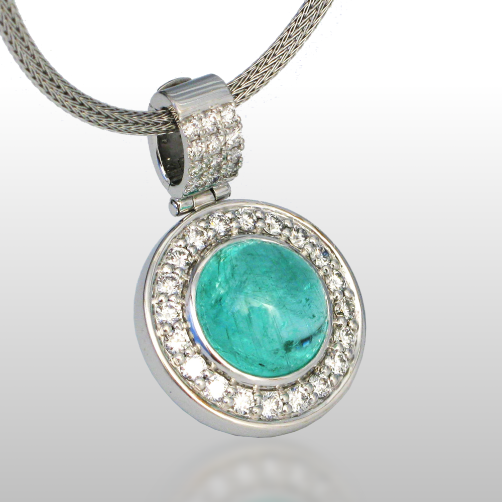 Paraiba Tourmaline Pendant 'Orbit' in 18k White Gold with Diamonds by Pratima Design Fine Art Jewelry