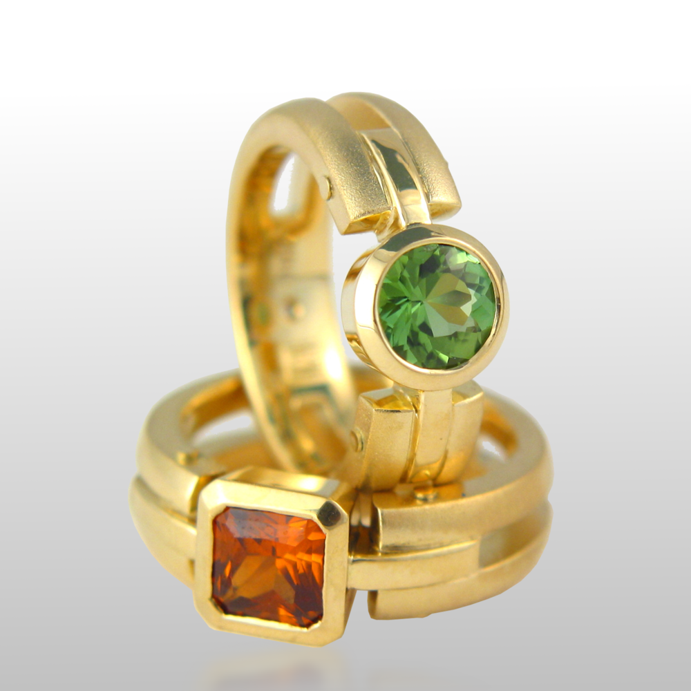 Contemporary 18k gold rings 'Millennium' with green tourmaline and mandarin garnet by Pratima Design Fine Art Jewelry