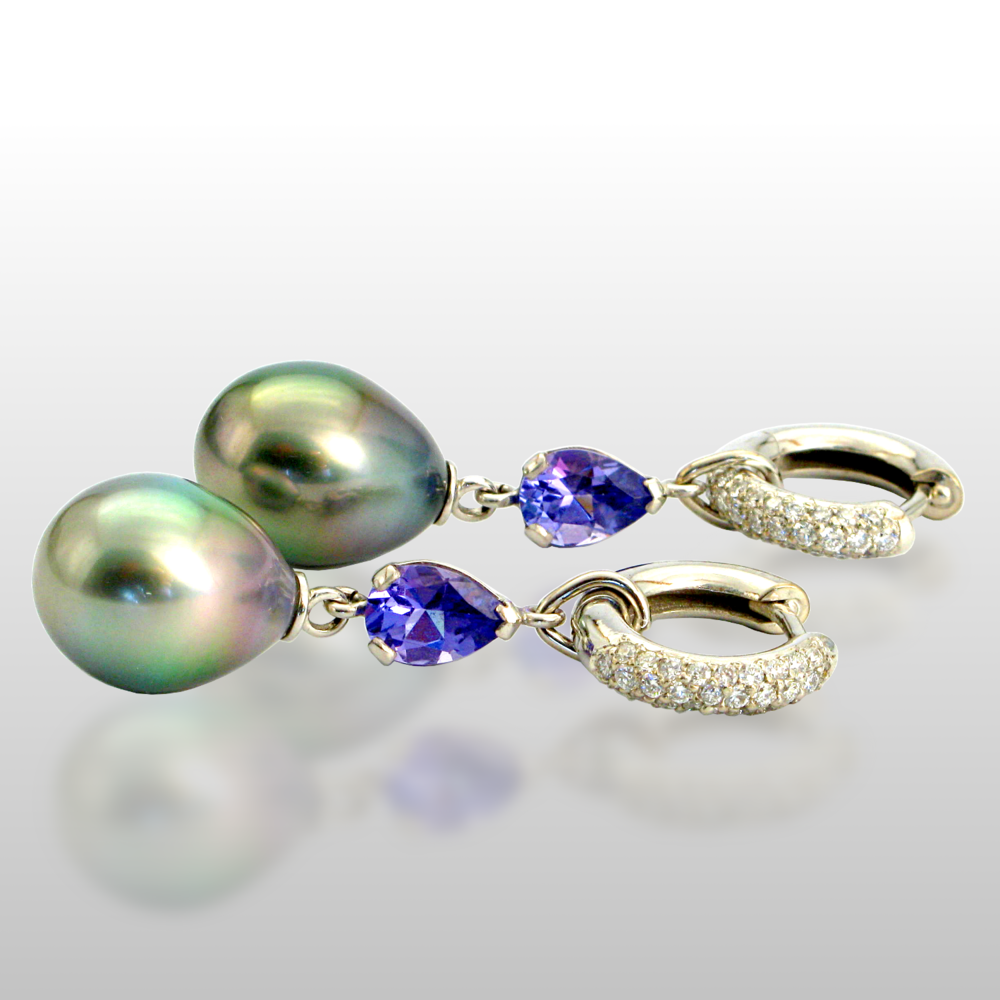Tanzanite and Tahitian South Sea Pearl Earrings with Diamond Pavé Hinged Hoops in 18k White Gold by Pratima Design Fine Art Jewelry