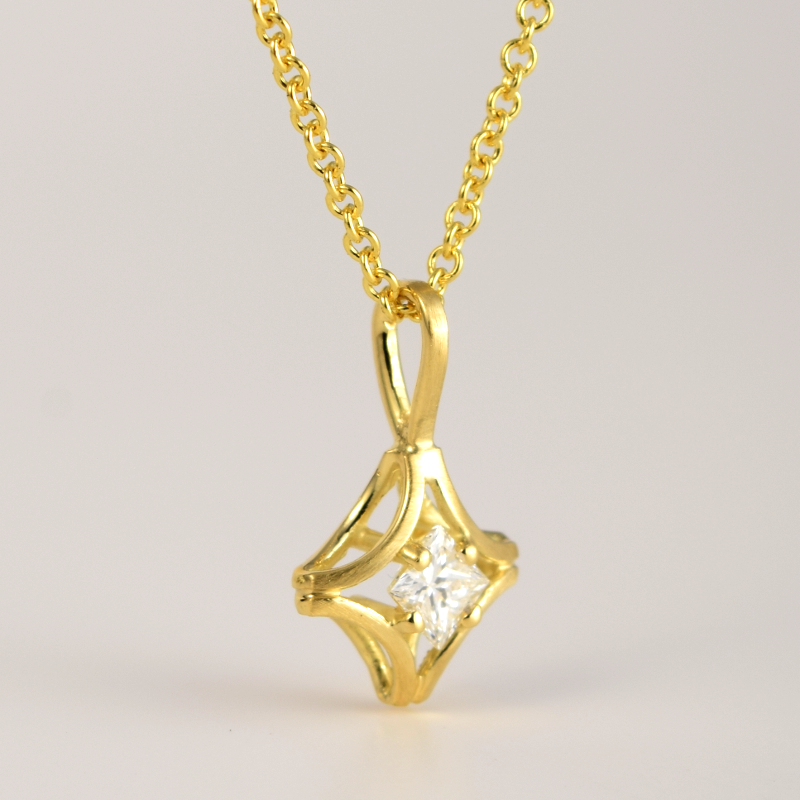 Princess Cut Diamond Solitaire Pendant 'KARO' in 18k Yellow, Rose or White Gold and Platinum by Pratima Design Fine Art Jewelry Maui