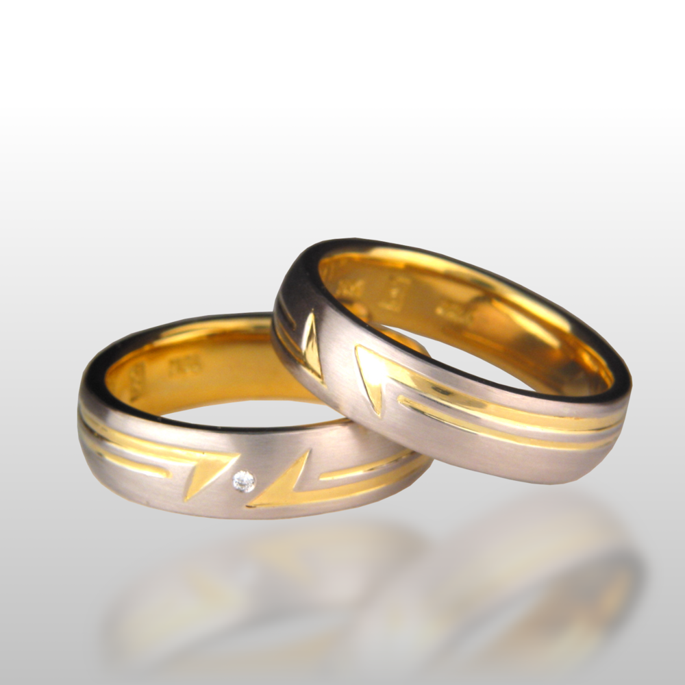Platinum and 22k Gold Wedding Band Set -His and Hers- by Pratima Design Fine Art Jewelry