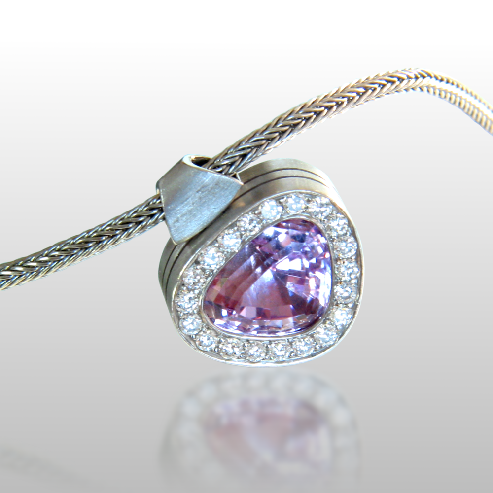 One-of-a-kind Platinum Necklace with Kunzite and Diamonds by Pratima Design Fine Art Jewelry