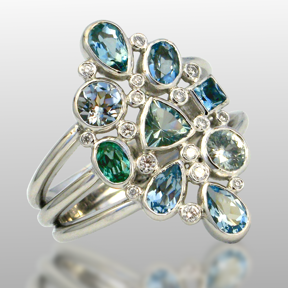 18k White Gold Ring 'Ocean' with Aquamarines, Topaz, Zircon and Diamonds from the 'Kaleidoscope' Collection by Pratima Design Fine Art Jewelry
