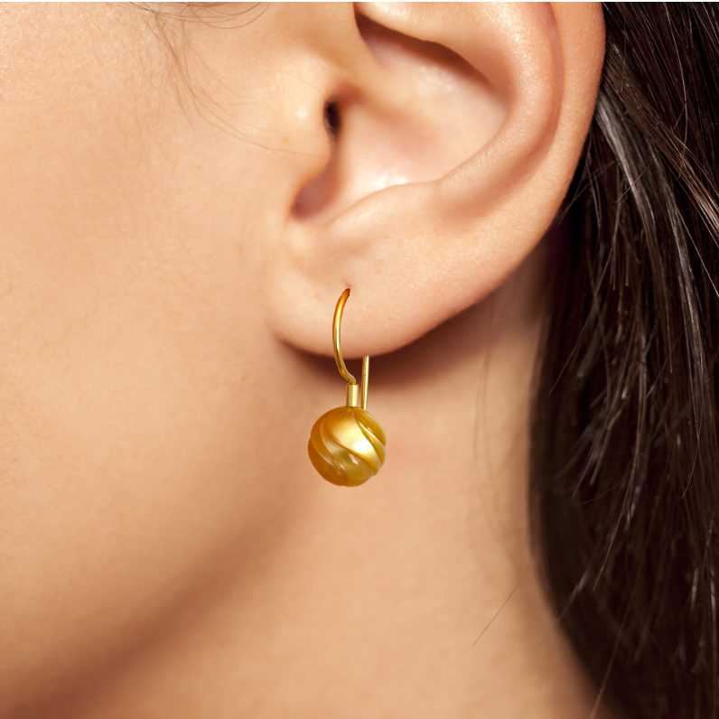 Golden South Sea Carved 'GALATEA' Pearl Earrings in 18k gold by Pratima Design Fine Art Jewelry