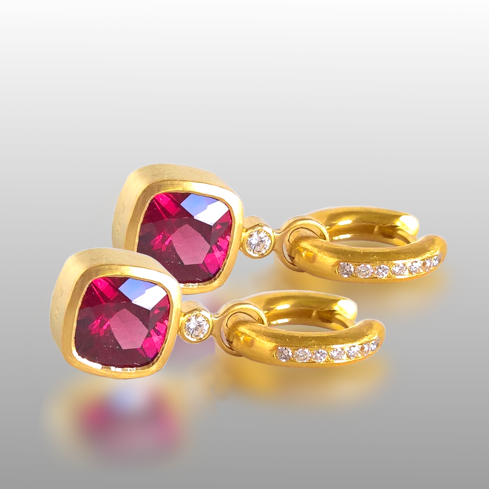 Cushion Garnet Earrings Slides on Hinged Hoops with Diamonds in 18k Gold by Pratima Design Fine Art Jewelry Maui