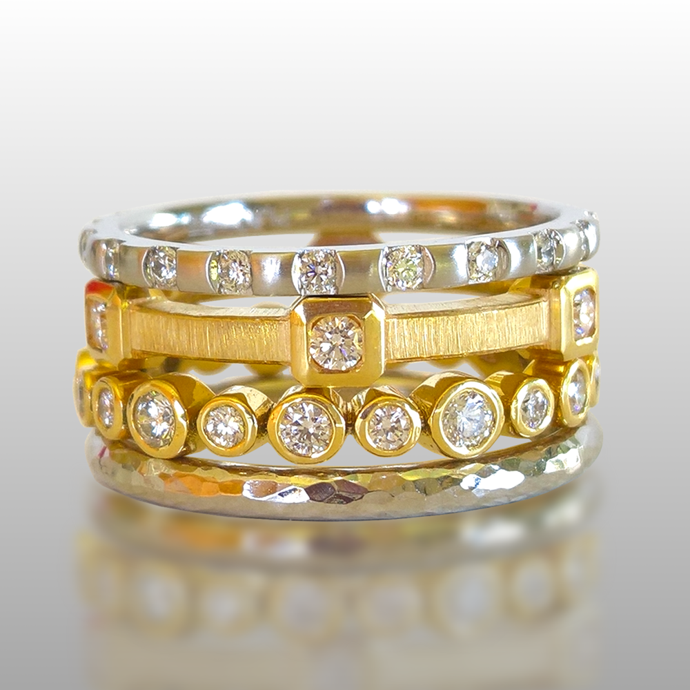 Collectible Stacking Rings with Diamonds in 22k Gold, 18k Gold and Platinum 'Momenti' by Pratima Design Fine Art Jewelry Maui