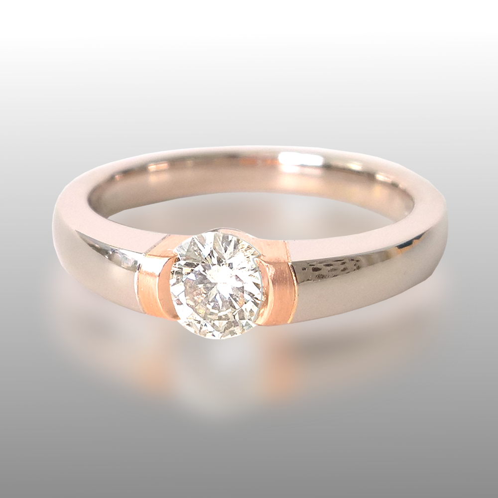 Platinum Rose Gold Diamond Engagement Ring by Pratima Design Fine Art Jewelry Maui