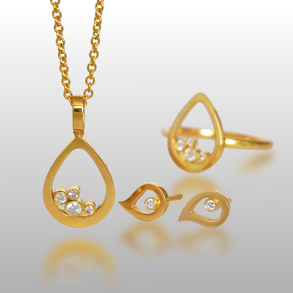 Diamond Cluster Teardrop Necklace, Ear Studs and Ring Set in 18k Gold by Pratima Design Fine Art Jewelry