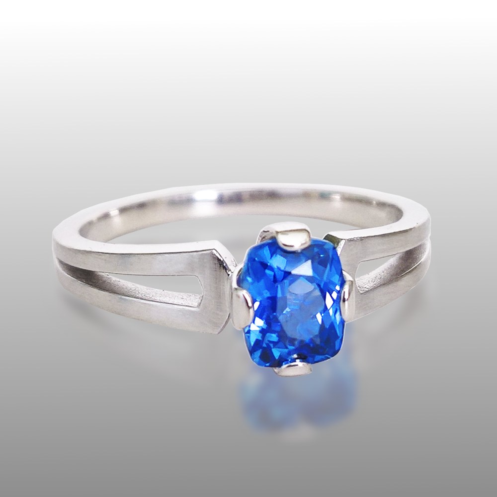 Cushion Cut Blue Sapphire Engagement Ring 'TWIN' in 18k White Gold by Pratima Design Fine Art Jewelry Maui