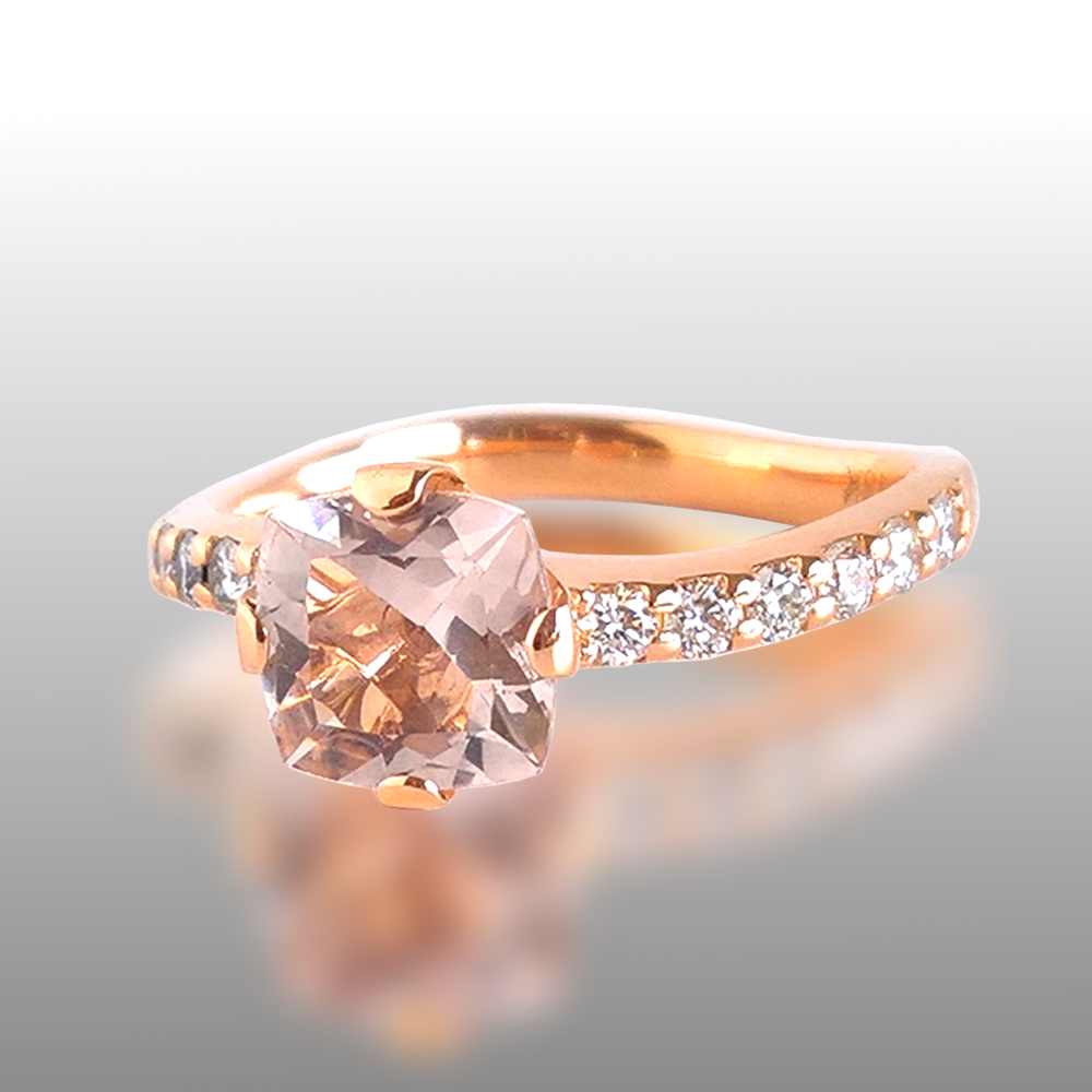 Morganite Wave Engagement Ring with Diamond Pavé 'Lamello' in 18k Rose Gold by Pratima Design Fine Art Jewelry