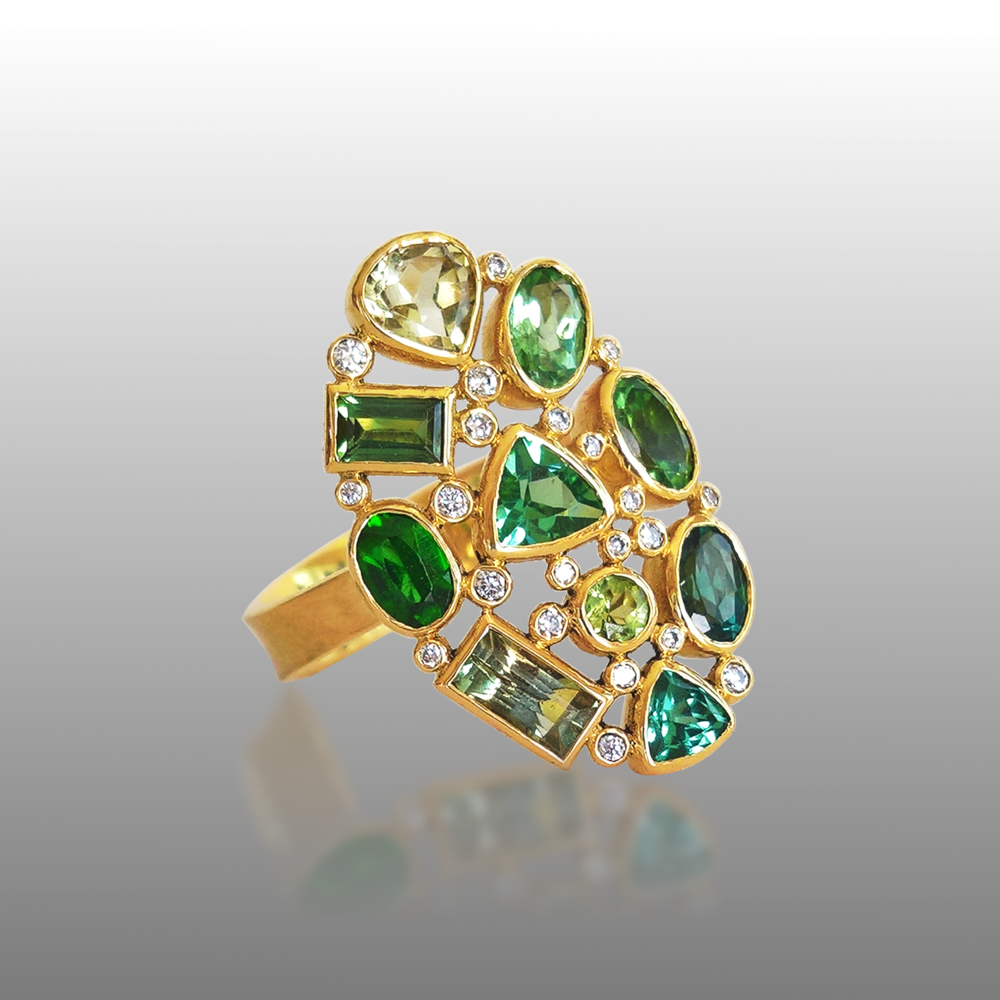 'Rainforest' Ring in 18k gold with Green Tourmalines and Diamonds from the KALEIDOSCOPE Collection by Pratima Design Fine Art Jewelry