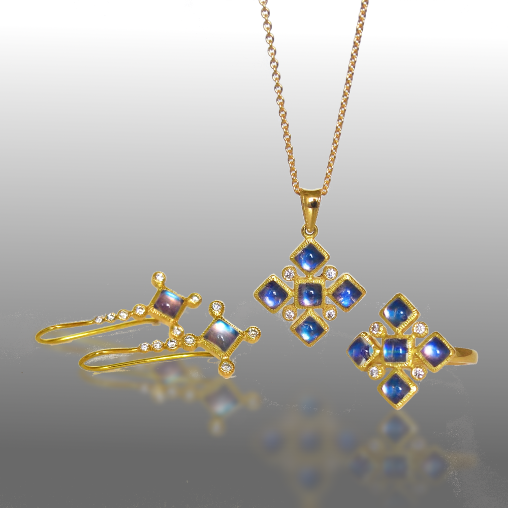 Blue Moonstone Diamond Necklace, Ring and Earring Jewelry Set in 18k Gold by Pratima Design Fine Art Jewelry