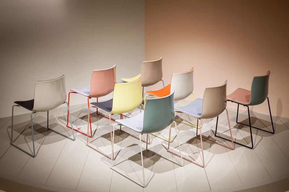 """The updated colour palette for Arper's Catifa seating can be applied to the seat and back of the chair independently"". Photo from dezeen.com."