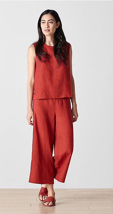 """""""This is a monochromatic look, which is an important trend right now. The color Serrano is intended to punctuate a pinky-light red color story, in a particular delivery for Spring 2018. It's a refreshing and crisp look. This outfit in Serrano creates a 'searing' effect in the heat in the midst of summer""""."""