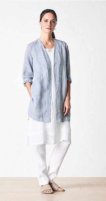 """""""We love white in summer, and here it's paired with chambray, which is created by cross dying two colors―white and a darker blue, which then creates a faded look in the fabric. This is then combined with a white look again, giving it a fresh, summery appearance""""."""