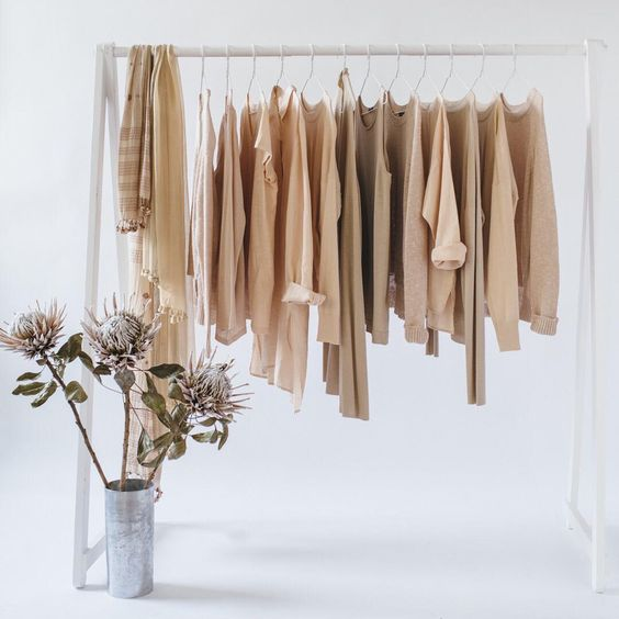 """""""This image features a cosmetic range of colors and demonstrates how one can mix a natural colored cashmere sweater with our colors Alabaster and/or Dune""""."""